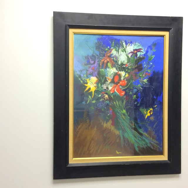 Bouquet Framed Pastel Painting by Leon Kelly - Image 2 of 8