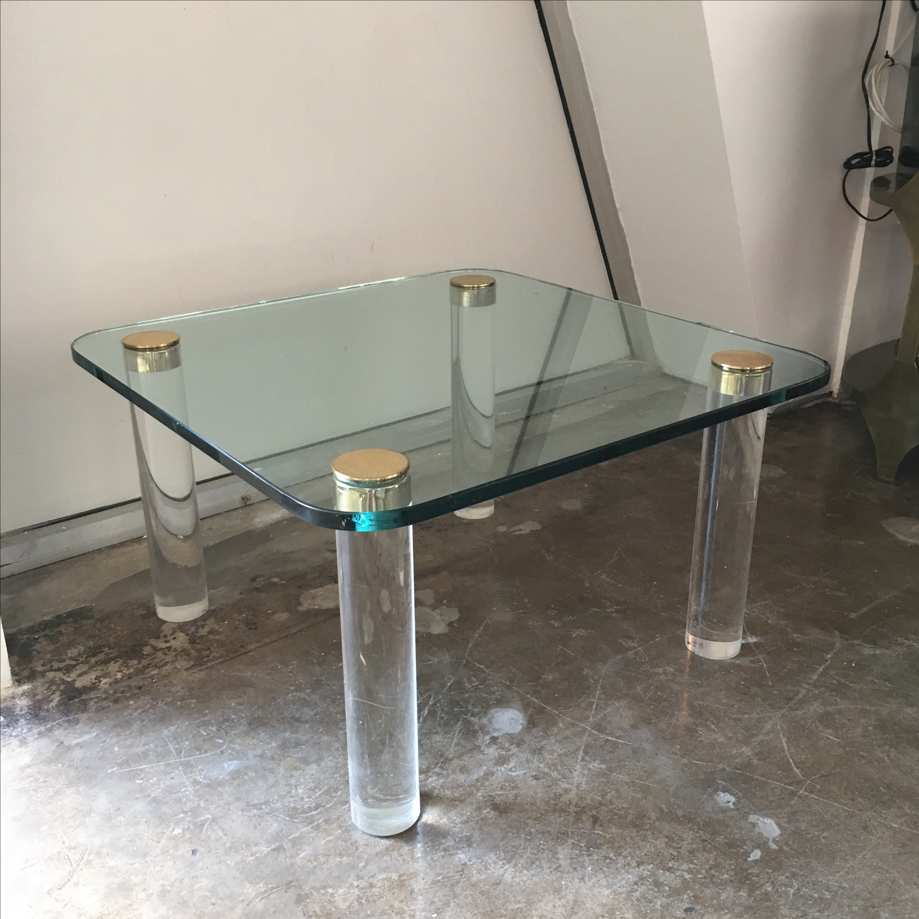 Elegant Vintage Pace Glass, Brass And Lucite Small Coffee Or Cocktail Table   Image  10 Of