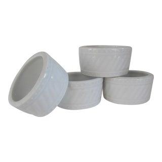 White Porcelain Napkin Rings - Set of 4