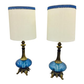 Mid-Century Blue Glass & Brass Lamps - A Pair
