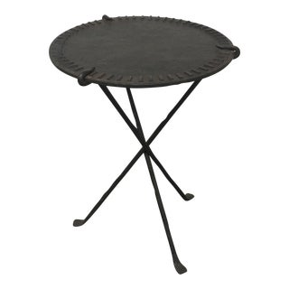 Rustic Round Iron Tripod Side Table