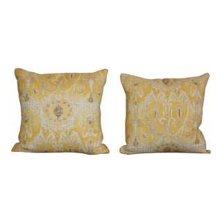 Yellow Ikat Throw Pillows - A Pair