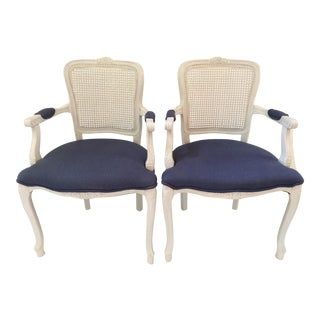 French White Painted Chairs - A Pair