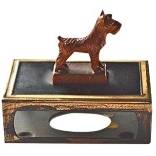 Celluloid & Brass Dog Matchbox Holder