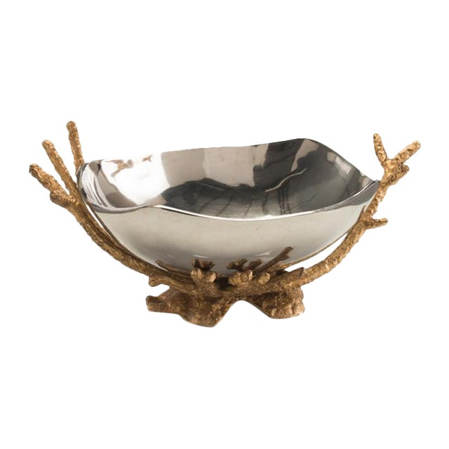 Modern Nickel Bowl on Brass Coral Stand - Image 1 of 4