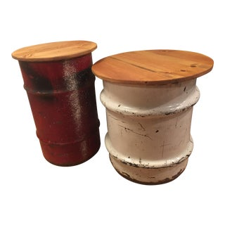 Industrial Metal & Wood Cylindrical End Tables- A Pair