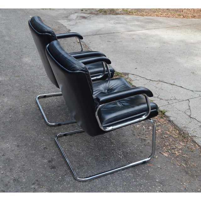 Image of Mid-Century Leather & Chrome Club Chairs - a Pair