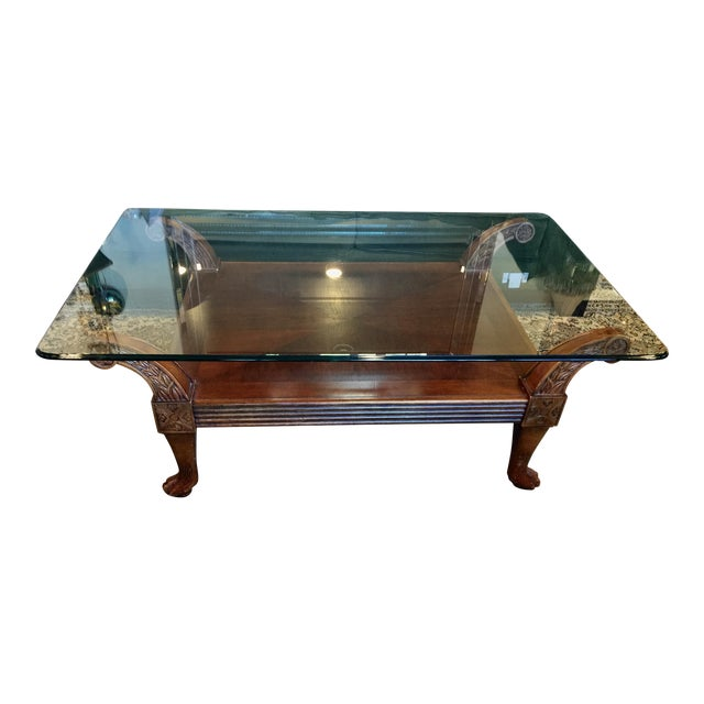 Carved cherry wood with glass top coffee table chairish for Cherry wood glass coffee table