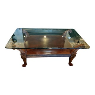 Carved Cherry Wood With Glass Top Coffee Table