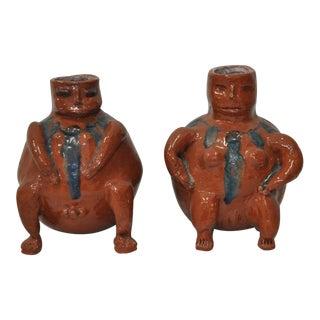 C.1940s Primitive Glazed Terracotta Figures - A Pair
