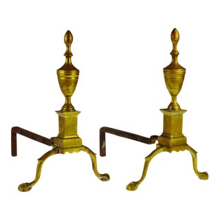 Early Federal Style Ball and Claw Foot Brass Andirons