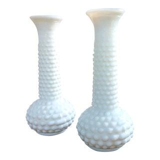 Vintage White Textured Vases - A Pair
