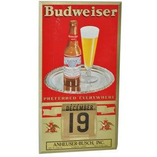 Vintage Metal Budweiser Wall Calendar