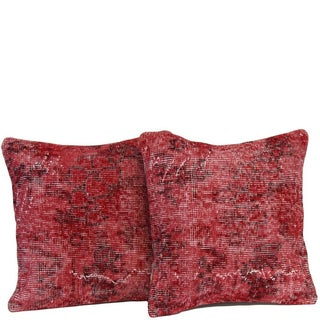 Red Handmade Over-Dyed Pillow Covers - Pair