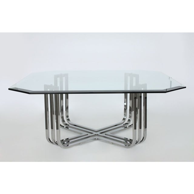 Milo Baughman Chrome Coffee Table: Milo Baughman Style Chrome X Base Coffee Table