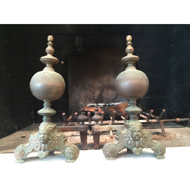 French Antique Brass Andirons - Image 2 of 6