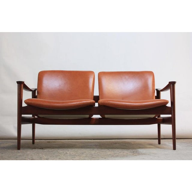 Fredrik Kayser Loveseat in Leather and Teak - Image 4 of 11
