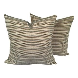 Black & Teal Stripped Pillows - A Pair