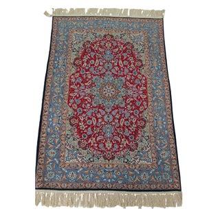"""Vintage Wool/Silk Persian Isphahan Rug -3'6""""x 5'4"""""""