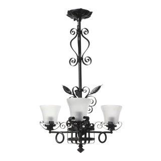 Gothic Victorian Three Light Wrought Iron Chandelier