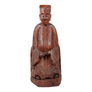 Antique Carved Wooden Buddha Statue