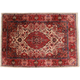 Vintage Hand Knotted Wool Persian Mashad Rug