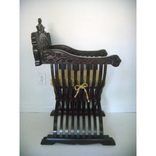 Vintage Italian Style Savonarola Arm Chair - Image 3 of 7