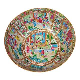 Rose Canton Porcelain Punch Bowl, Edme Samson et Cie, Paris, Circa 1880