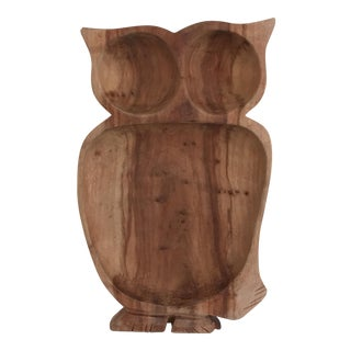 Large Wooden Owl Serving Tray