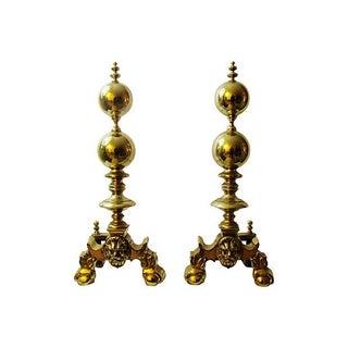 Brass Lion Andirons - Pair of 2