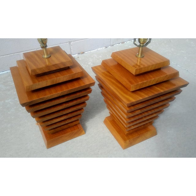 Mid-Century Wood Stacked Lamps - A Pair - Image 6 of 6