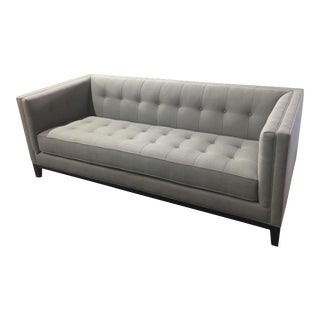 Custom Designer Tufted Sofa in Gray Fabric