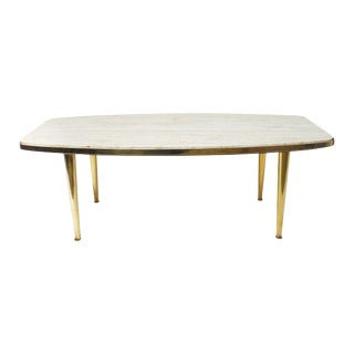 Mid-Century Brass & Travertine Coffee Table