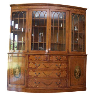 Satinwood Breakfront China Cabinet