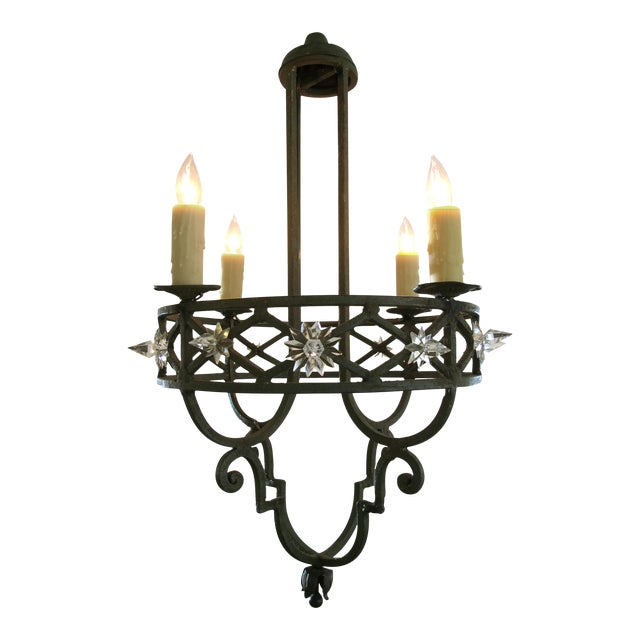 Well-Crafted Spanish Dark Green Painted Hand-Wrought iron Four-Light Chandelier - Image 1 of 5