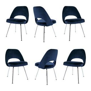 Saarinen Executive Armless Chairs in Navy Velvet - S/6