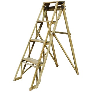 19th Century English Lattice Step Ladder by Gainsford and Co.
