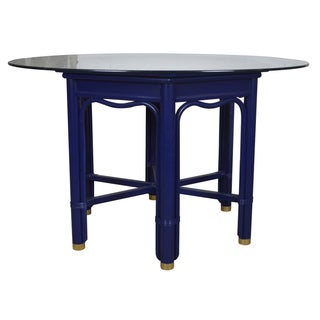 Ficks Reed Vintage Blue Wood & Rattan Dining Table