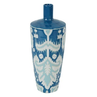 Blue & White Ikat Patterned Vase