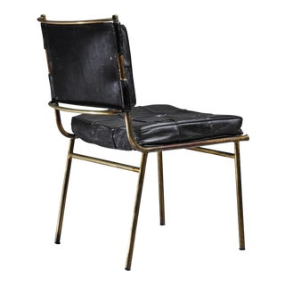 Mathieu Matégot Rare Chair with Brass Frame and Leather Cushions, France