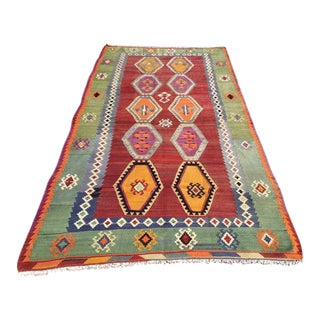 Vintage Turkish Kilim Rug - 5′1″ × 10′2″