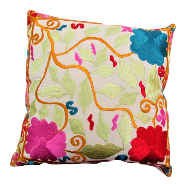 Handmade Moroccan Cactus Silk Embroidered Pillow - Image 1 of 3