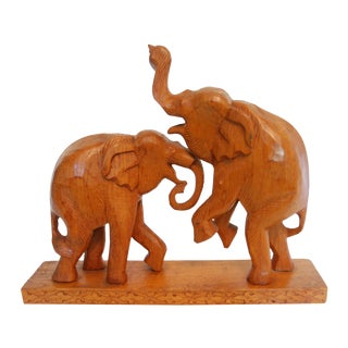 Vintage Hand Carved Wood Elephant Pair