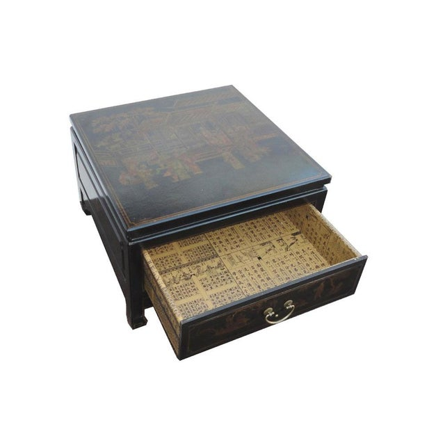 Black Gold Square Chinese Leather Coffee Table Chairish