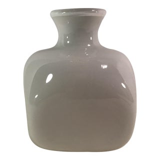 Hand Blown White Art Glass Cased Square Vase