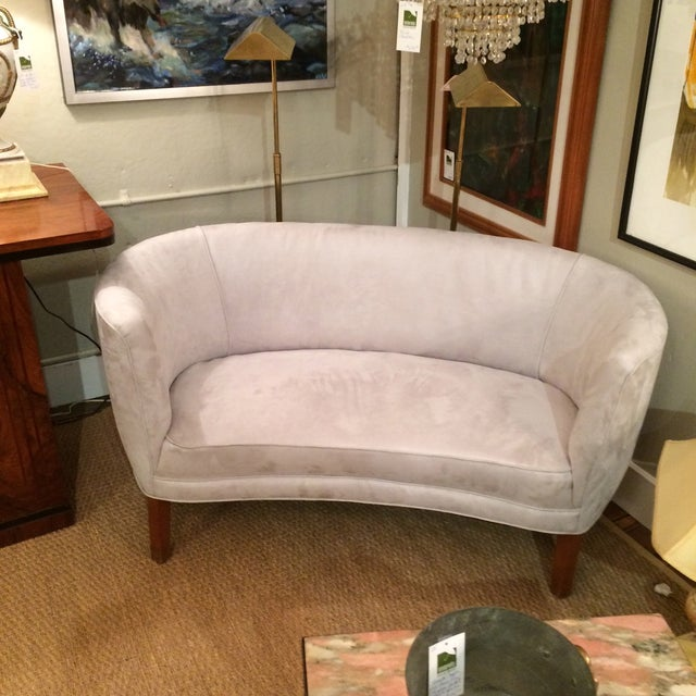 1940s Curved Grey Suede Loveseat - Image 2 of 5
