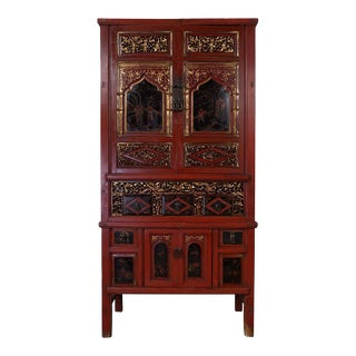Chinese Antique Carved Gilt Red Fujiang Armoire