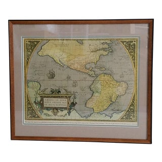 "Framed Deeptone Reproduction of Theatrum Orbis Terrarum ""Theatre of the World"" Print"