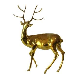 Brass Posing Deer Statue