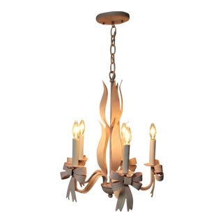 Vintage Hand Painted Metal Chandelier